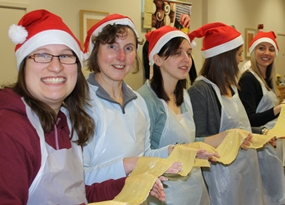 Team taking part in a christmas team building event