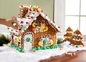 Photo of a colourful gingerbread house