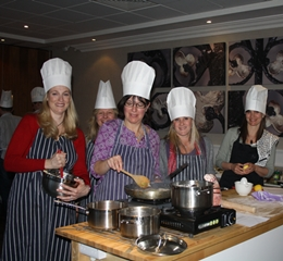 Team taking part in one of our fun Corporate Cooking Events
