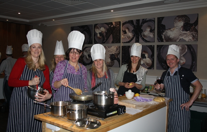 Team taking part in one of our new Corporate Cooking Events