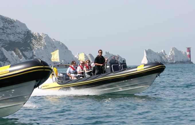 Guests on a high speed RIB out on the Solent.