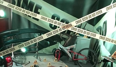 Picture of a crime scene set up for an indoor team building activity