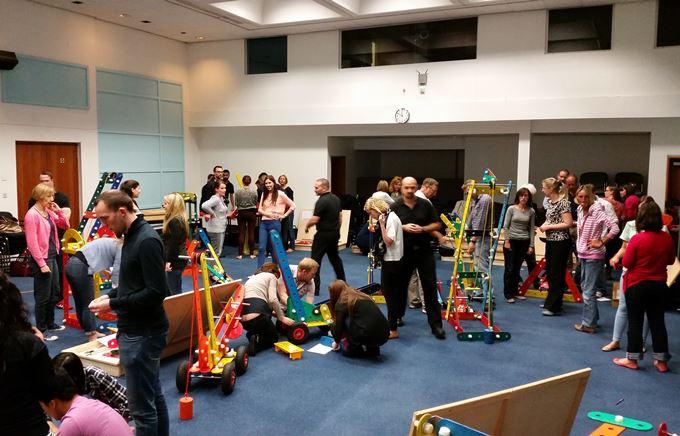 Team taking part in an indoor team building activity