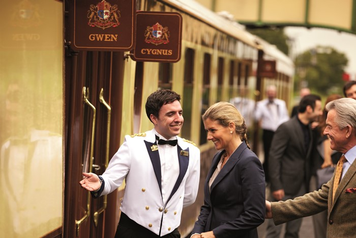 Guests arriving at the British Pullman and being shown aboard.