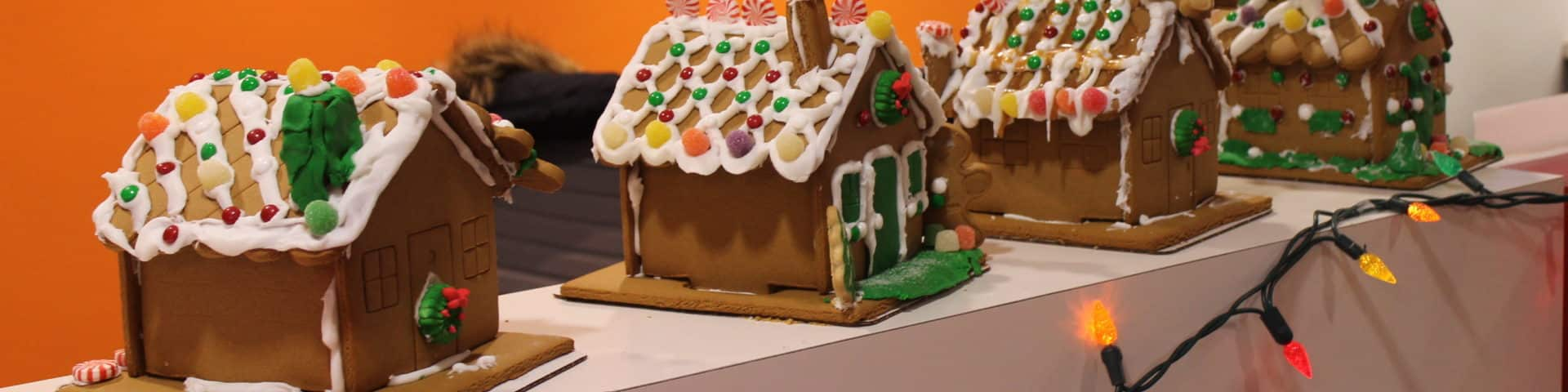 gingerbread houses made during a christmas team building activity