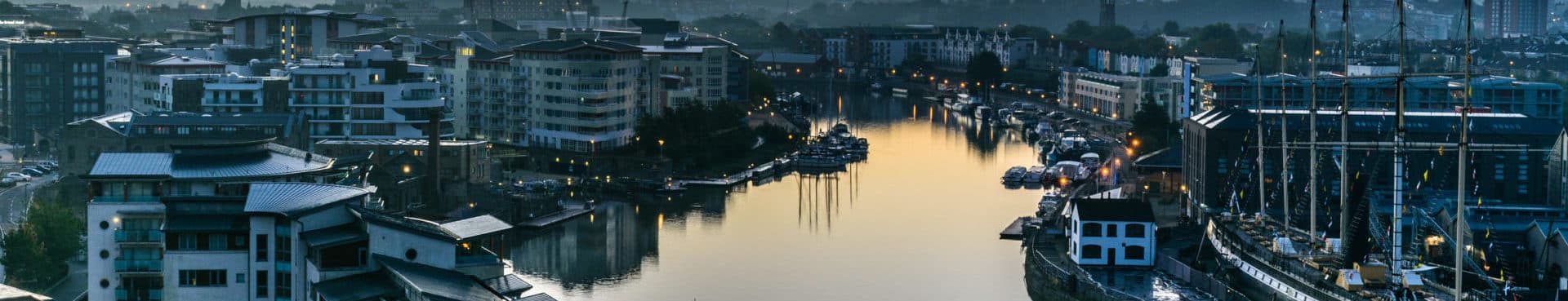 An image of Bristol harbour at sunrise