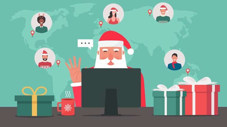 Santa taking part in a virtual Christmas event