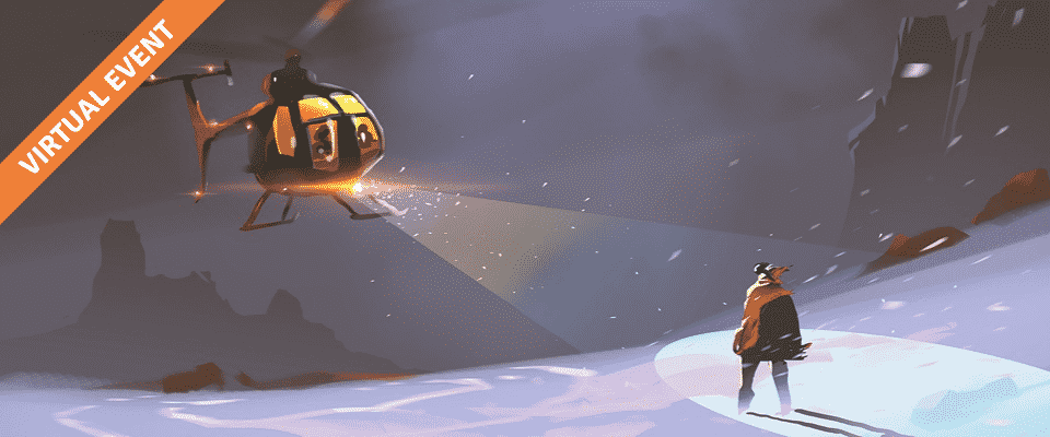 A snow scene with a helicopter in the sky and a person on the ground waiting to be rescued.