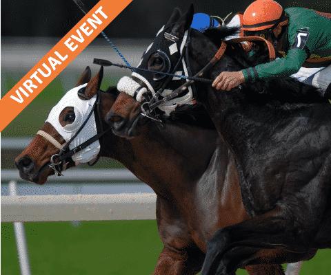 Two horses and jockeys racing head to head.