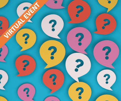 Lots of colourful speech bubbles with questions marks inside them on a blue background.