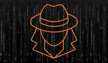 Silhouette of a spy on a black code background