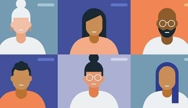 Vector of six people on a video call during a virtual team building activity